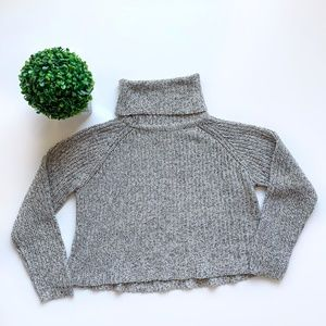 G21 Cowl Neck Chunky Knit Sweater Grey Size Large